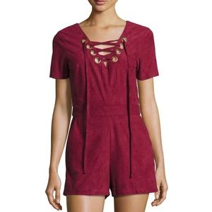 Anthropologie Moon River Romper Faux Suede Lace Up